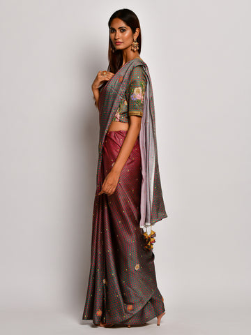 Guldasta Classic Olive Embroidered Saree Set