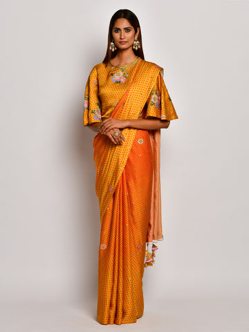 Guldasta Blooming Mustard Embroidered Saree Set