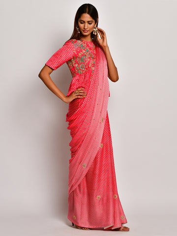 Guldasta Playful Crimson Embroidered Saree Set