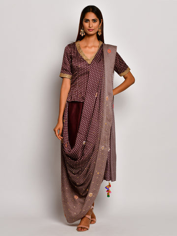 Guldasta Vintage Brown Drape Saree Set