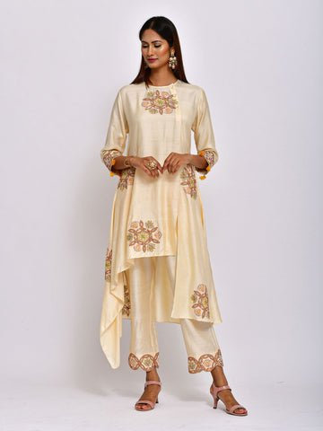 EKRANG BEIGE KAMAL EMBROIDED TUNIC WITH PANTS