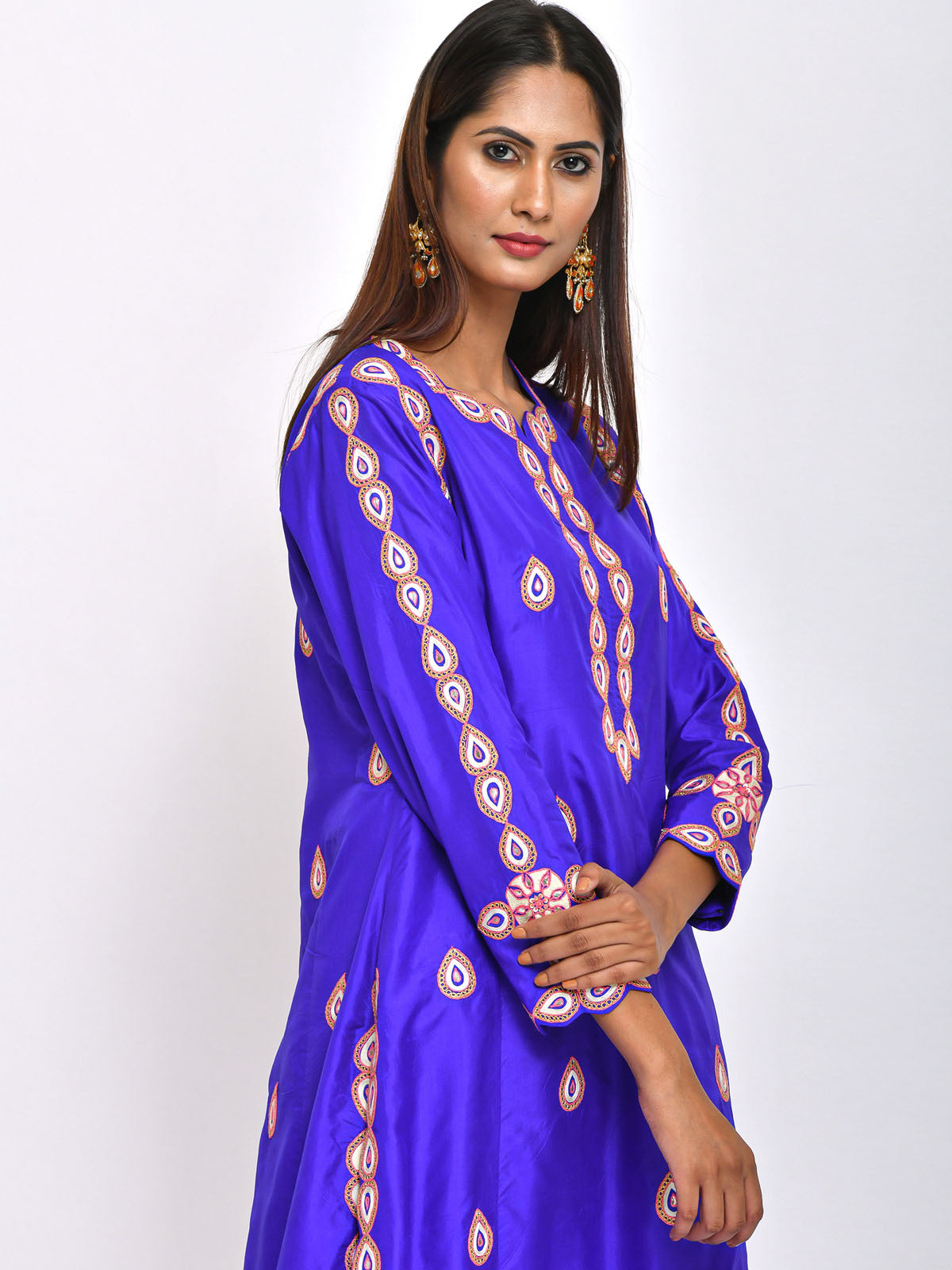 PURPLE DROPLET EMBROIDERED  KURTA PANT AND DUPATTA