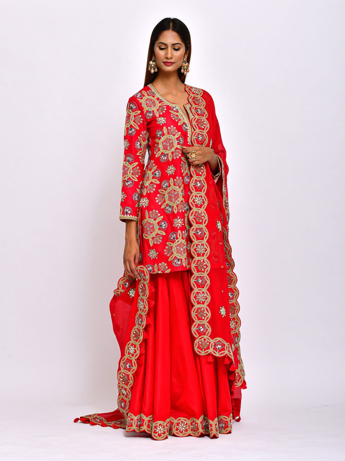 KAMAL SHORT EMBROIDED  KURTA, SHARARA AND DUPATTA