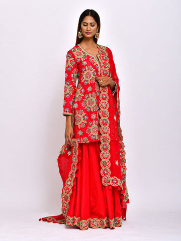 MORBAGH KAMAL SHORT EMBROIDED  KURTA WITH SHARARA AND DUPATTA