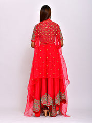 KAMAL CROP TOP WITH ASYMMETRIC LEHENGA  AND CAPE