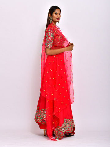 MORBAGH  KAMAL CROP TOP WITH ASYMMETRIC LEHENGA  AND CAPE