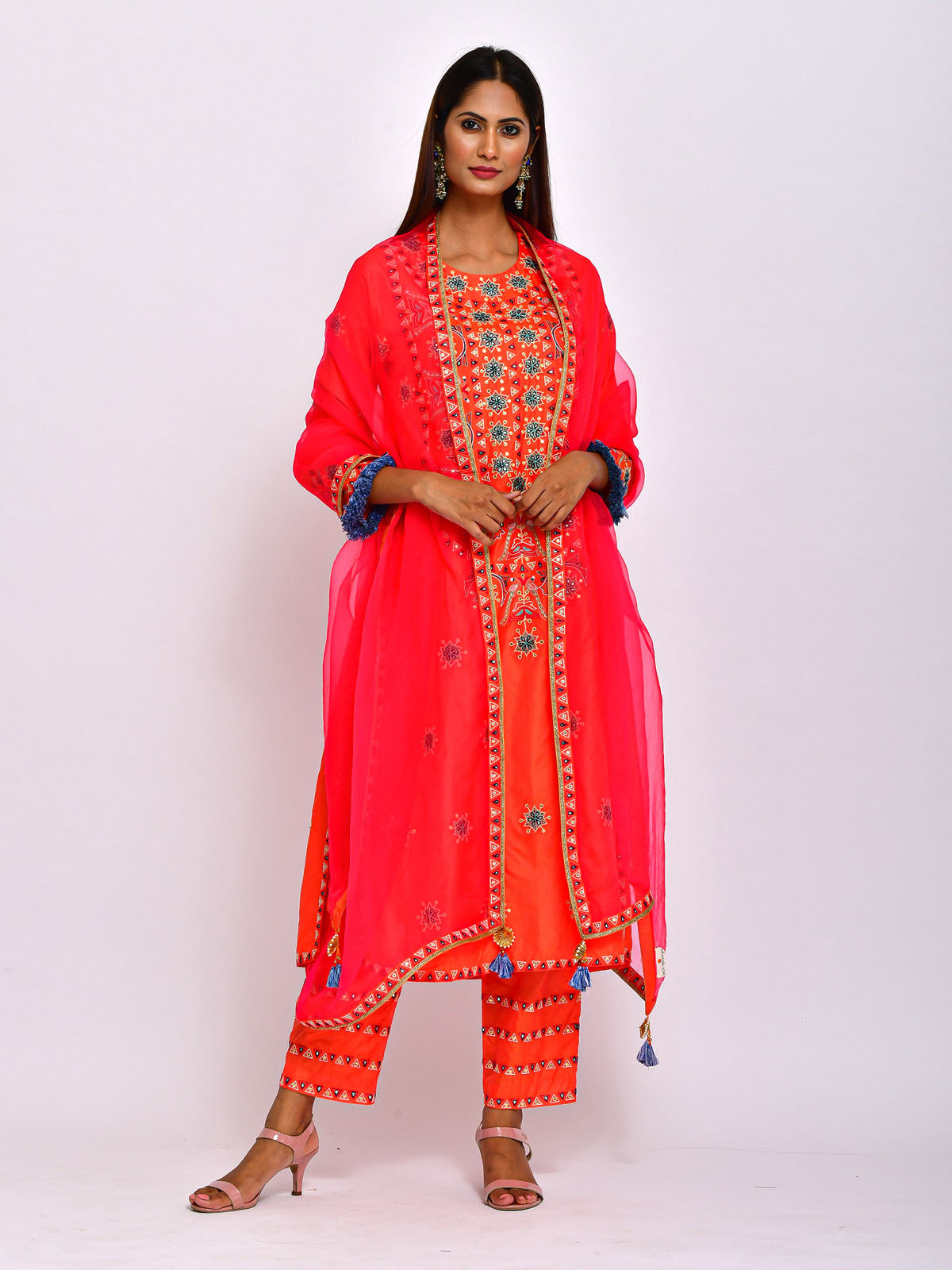 ORANGE MORIYA EMBROIDERED KURTA WITH PANTS AND DUPATTA