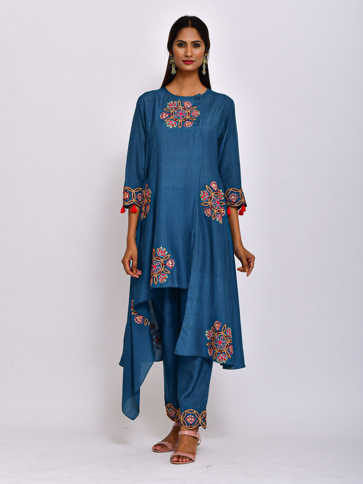TEAL KAMAL ASYMMETRICAL EMB TUNIC WITH  EMBROIDERED  PANTS