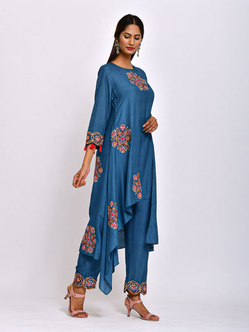 MORBAGH TEAL KAMAL ASYMMETRICAL EMBROIDED  TUNIC WITH  EMBROIDERED  PANTS