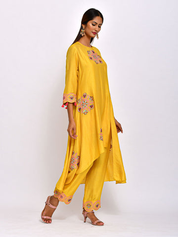 EKRANG YELLOW  KAMAL ASYMMETRICAL TUNIC WITH EMBROIDERED  PANTS