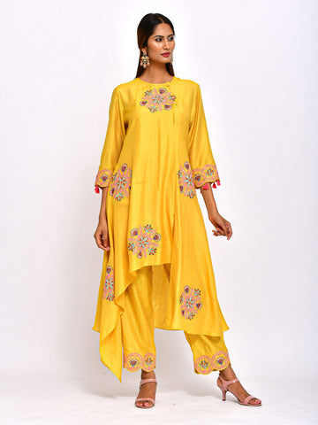 YELLOW  KAMAL ASYMMETRICAL TUNIC WITH EMBROIDERED  PANTS
