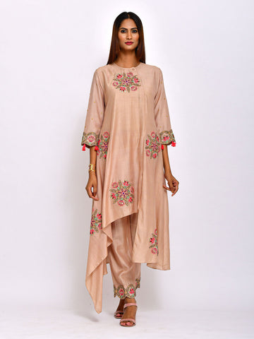 EKRANG ALMOND  KAMAL ASYMMETRICAL TUNIC WITH PANTS