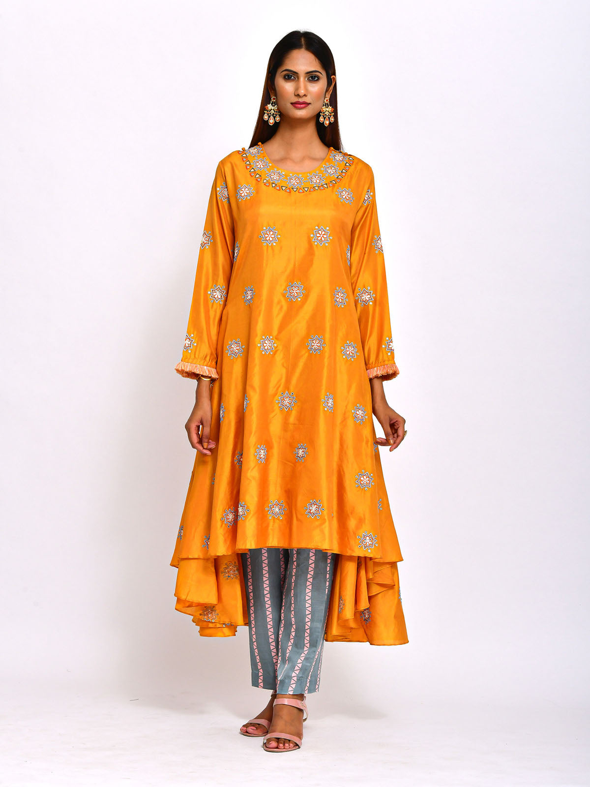 MUSTARD HIGH LOW KURTA WITH PANT