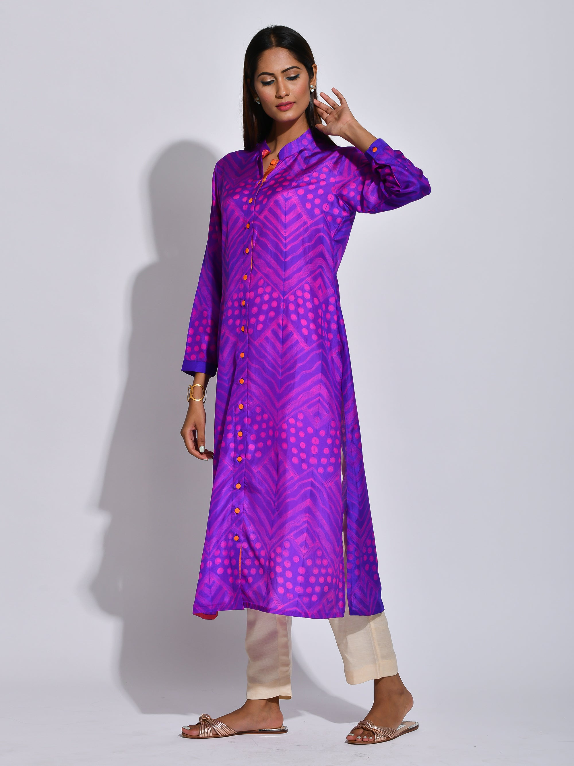 PURPLE STRIPED GUL SHIBORI KURTA