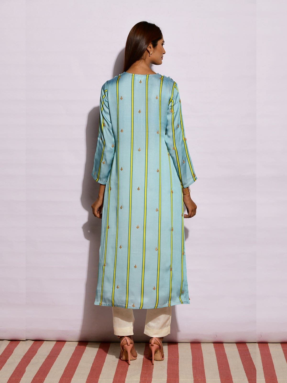 Aqua yellow striped embroidered kurta