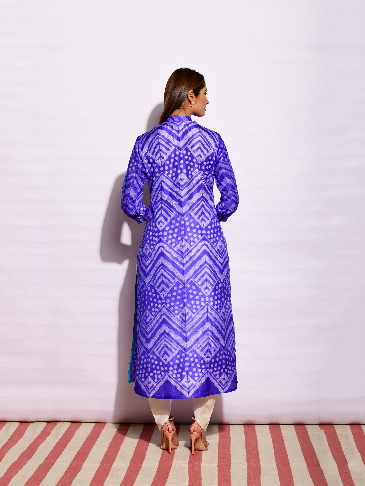 Purple/ off white Geometric Gul Shibori