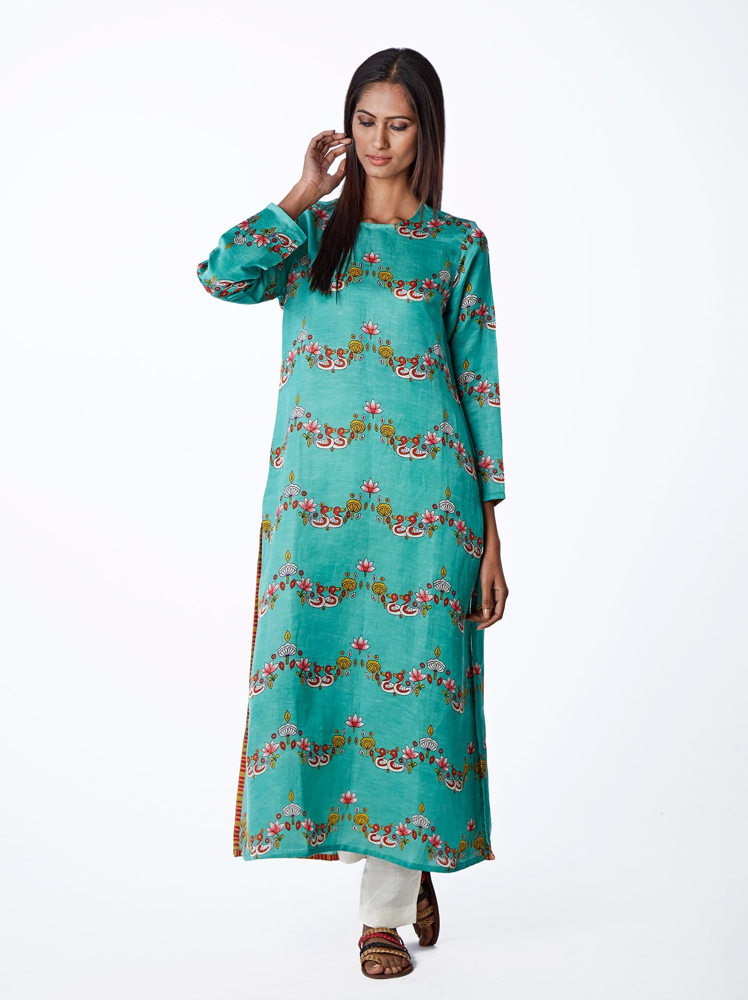 Bundi Mint Scallop Print Kurta
