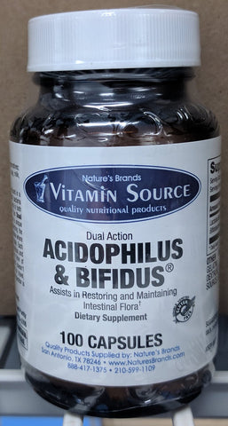 Vitamin Source Dual Action Acidophilus & Bifidus 100 Capsules - The Posh Lyfe Style