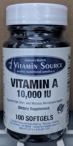 Vitamin Source Vitamin A 10,000 IU 100 Softgels - The Posh Lyfe Style