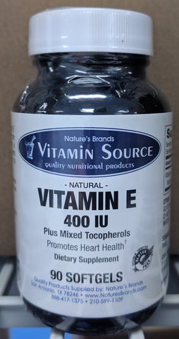 Vitamin Source Natural Vitamin E 400 IU Mixed Tocopherols 90 Softgels - The Posh Lyfe Style