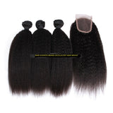 Peruvian Virgin Hair Kinky Straight A Lace Closure With 3 Bundles Deal - The Posh Lyfe Style