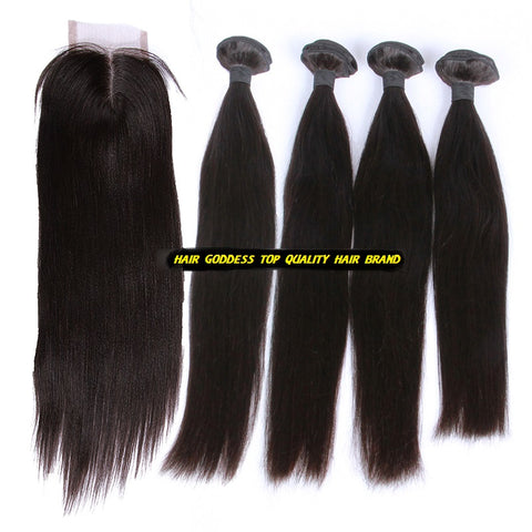 Peruvian Virgin Hair Silky Straight A Lace Closure With 4 Bundles Deal - The Posh Lyfe Style