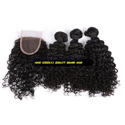 Peruvian Virgin Hair Water Wave A Lace Closure With 3 Bundles Deal - The Posh Lyfe Style