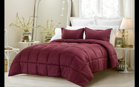 3pc Reversible Solid/ Emboss Striped Comforter Set- Oversized and Overfilled ( 2 bedding looks in 1) - Wine - The Posh Lyfe Style