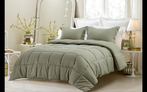 3pc Reversible Solid/ Emboss Striped Comforter Set- Oversized and Overfilled ( 2 bedding looks in 1) - Sage - The Posh Lyfe Style