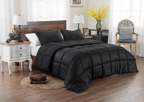 3pc Reversible Solid/ Emboss Striped Comforter Set- Oversized and Overfilled ( 2 bedding looks in 1) - Black - The Posh Lyfe Style