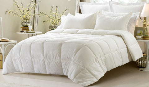 3pc Reversible Solid/ Emboss Striped Comforter Set- Oversized and Overfilled ( 2 bedding looks in 1) - Ivory - The Posh Lyfe Style