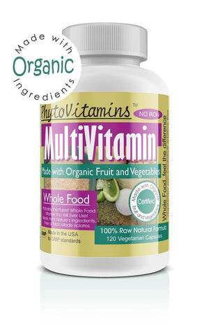 MultiVitamin NO IRON 120 Vegetarian Capsules (Made with Organic) - The Posh Lyfe Style