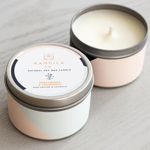 Strawberry & Champagne Candle Tin