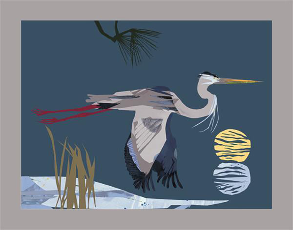 Heron and Two Moons