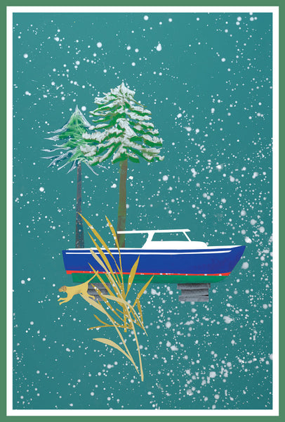 Winter Powerboat Christmas Card