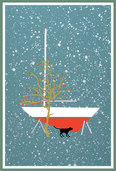 Winter Sailboat Christmas Card