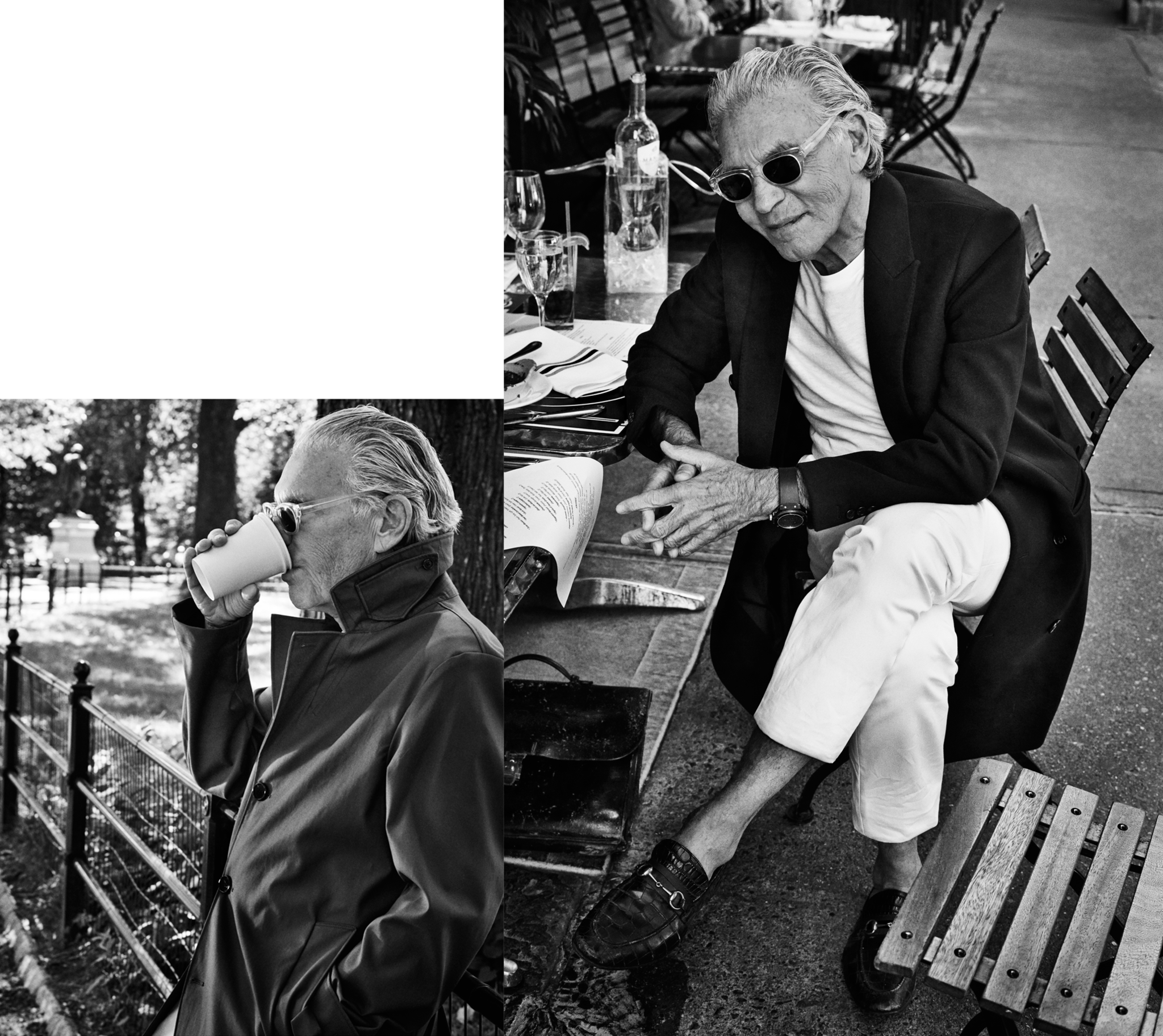 Wayne Maser wearing Thom Trenchcoat, Ives Wool Overcoat , Lothar T-shirt , Gehry Chino Trousers by SALLE PRIVÉE