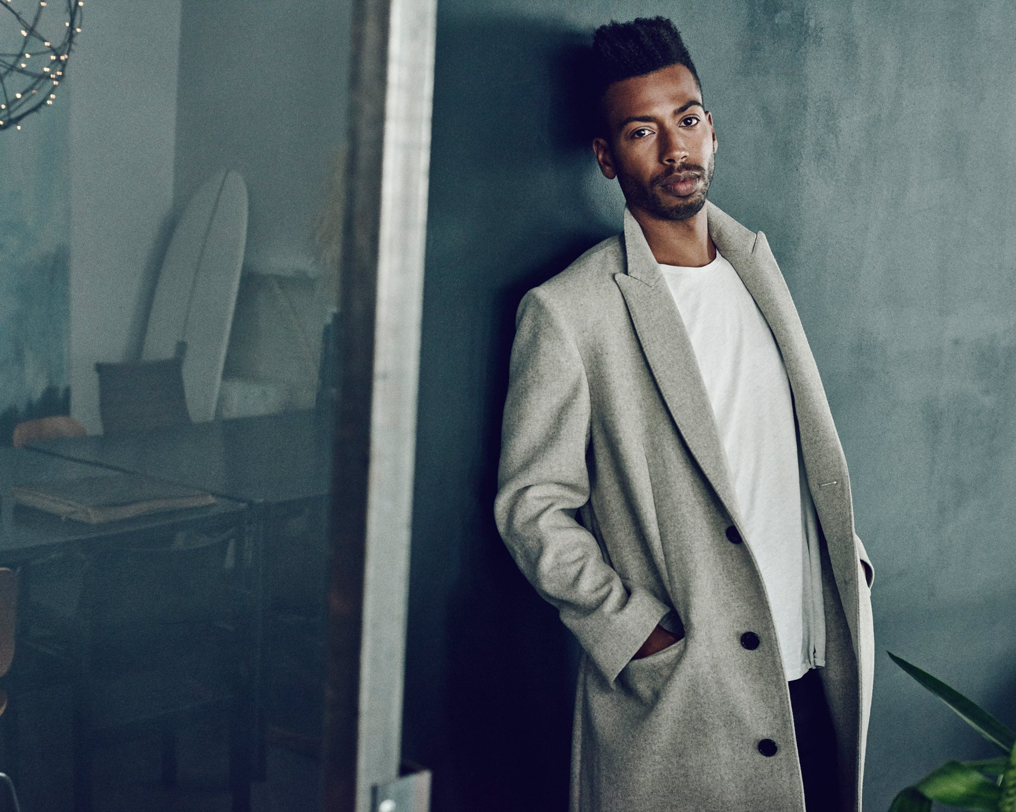 Amilcar Gomes wearing Gilles Unconstructed Wool Overcoat & Lothar T-shirt by SALLE PRIVÉE