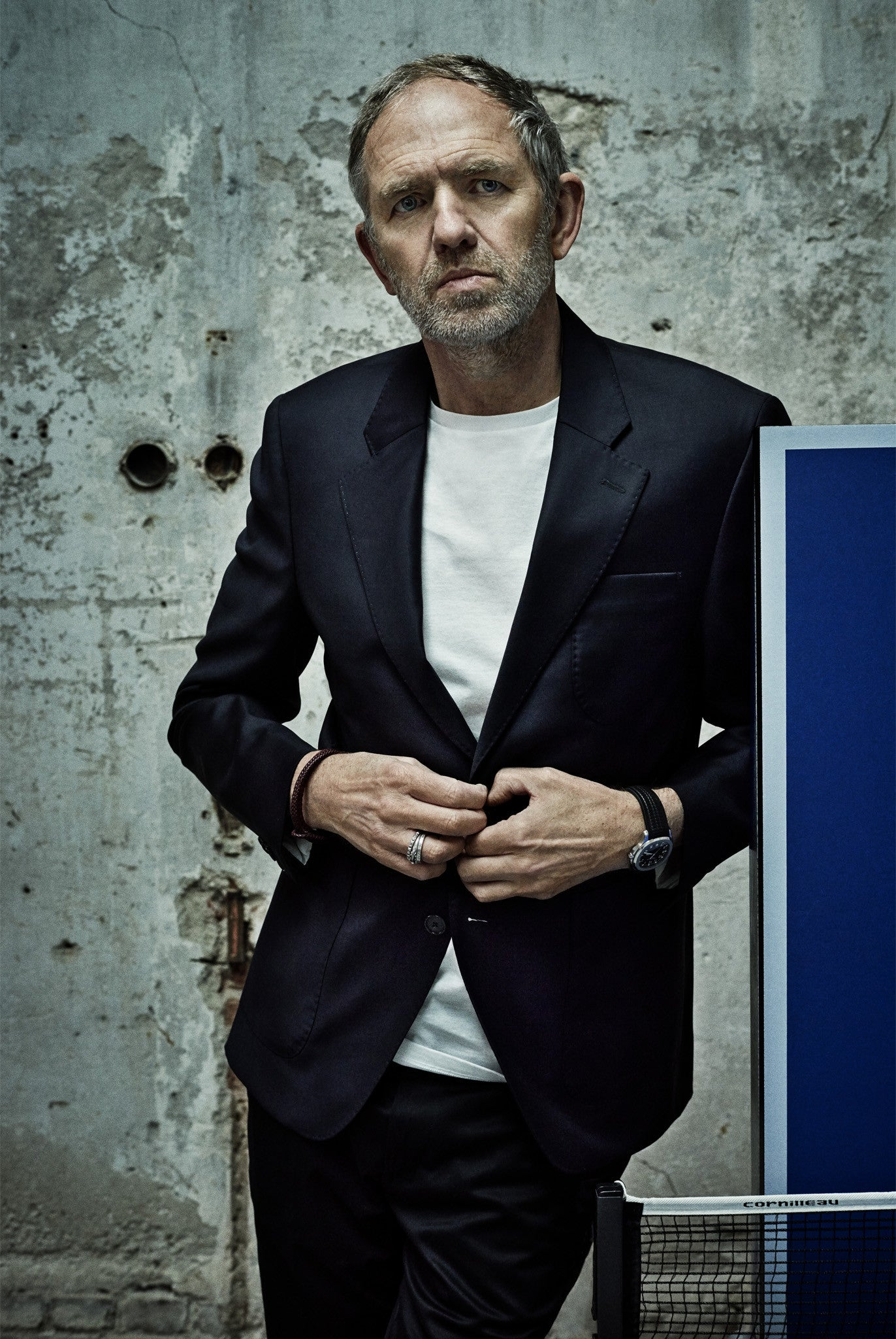Anton Corbijn wearing Havre Blazer Half Lined, Lothar T-shirt Cotton, Gehry Chino Trousers bY SALLE PRIVÉE