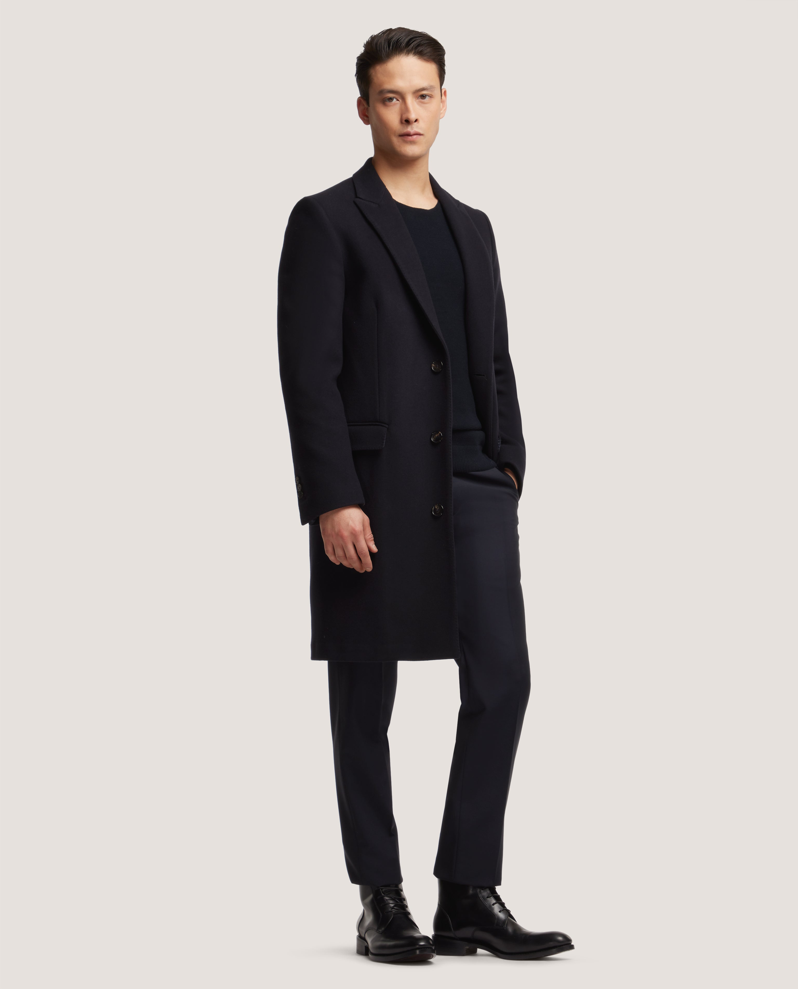 GILLES Single breasted unconstructed wool overcoat | Night Blue