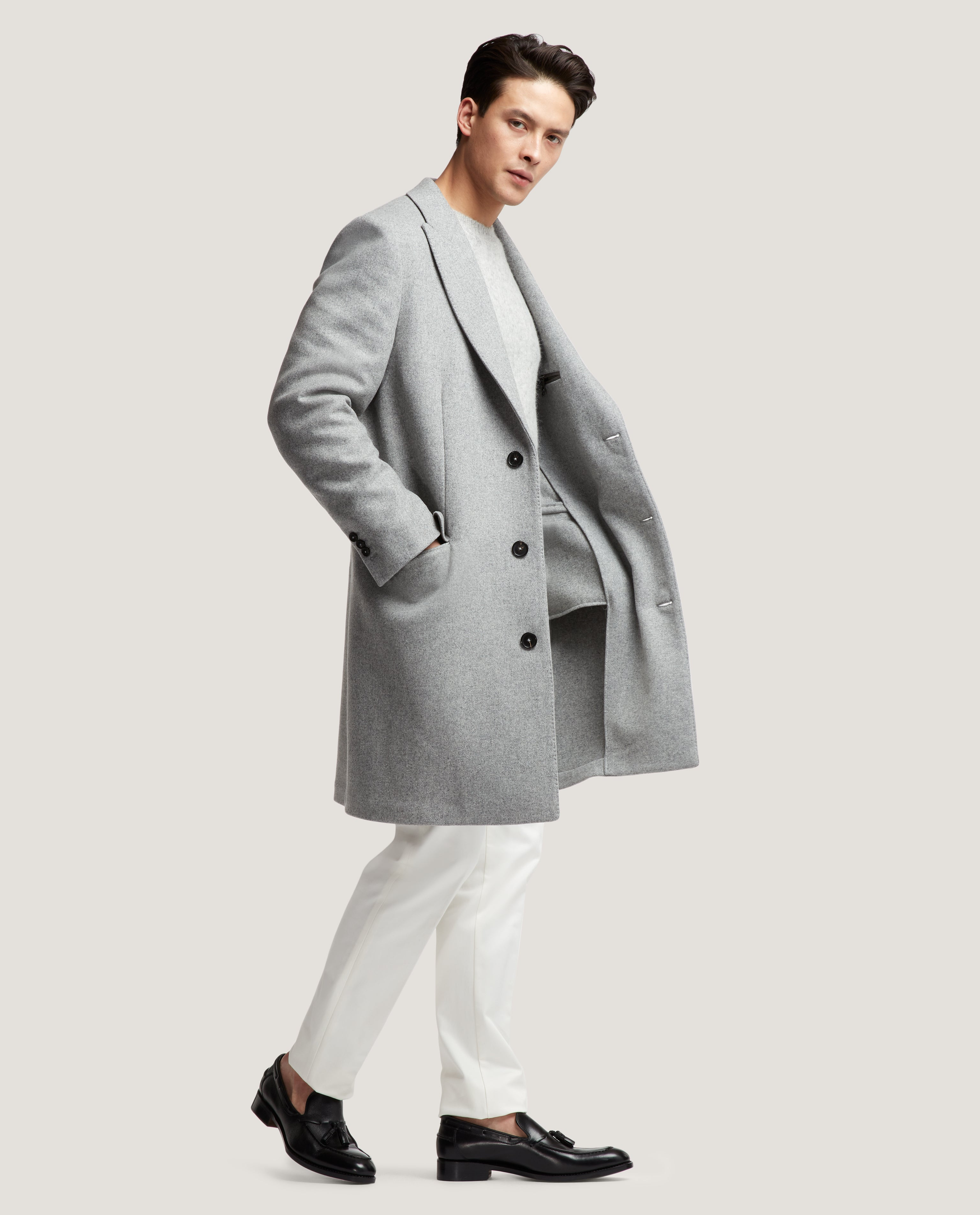 GILLES Single breasted unconstructed wool overcoat | Light Grey