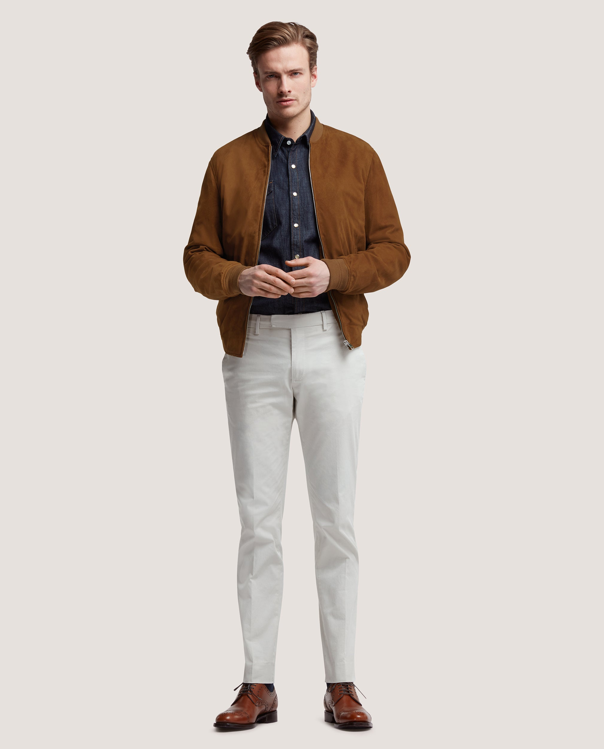 ALVAR Lamb suede jacket | Golden Brown