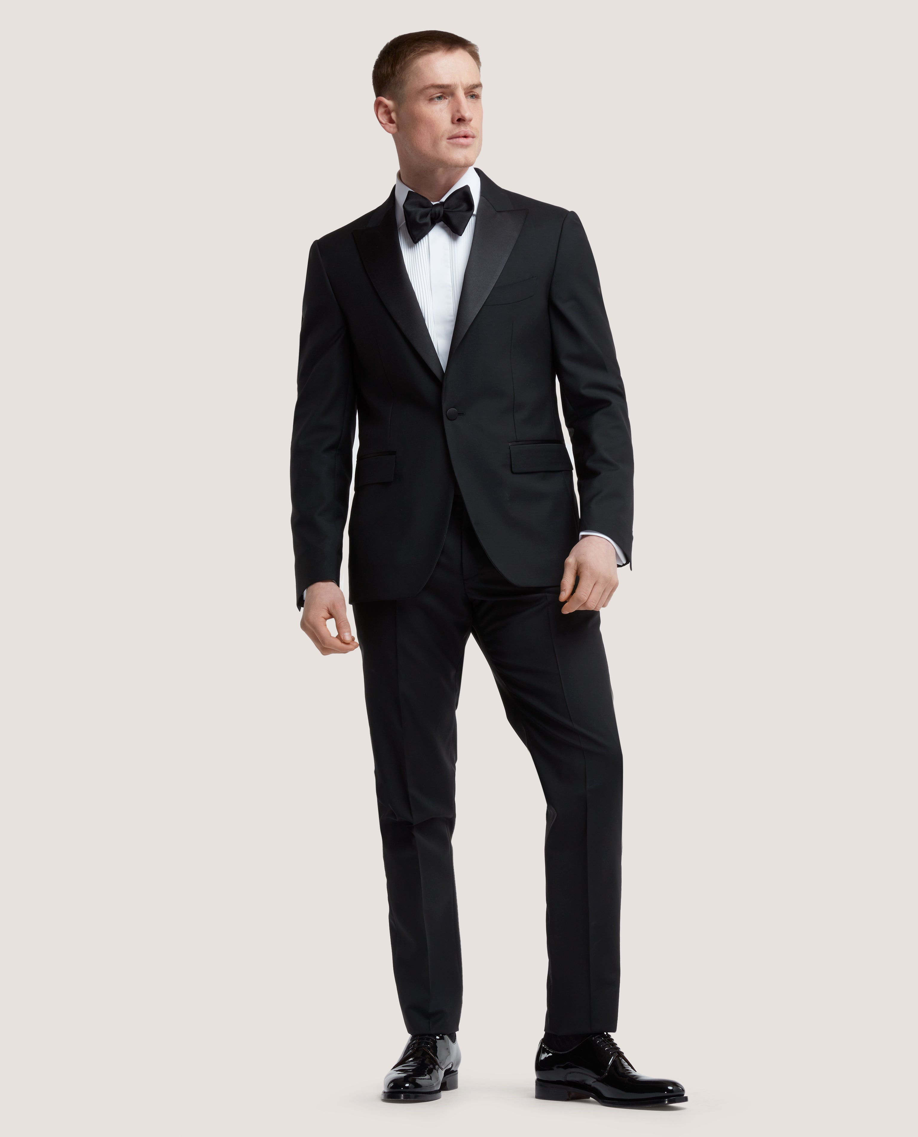 GASPAR Tuxedo suit | Wool-mohair blend | Black