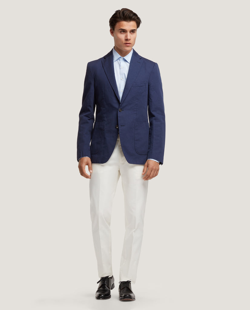 ROSS Unstructured blazer | Cotton Linen | Blue by Salle Privée