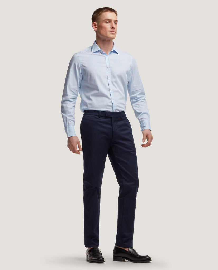 GEHRY Chino trousers | Slim fit | Cotton twill | Night Blue by Salle Privée