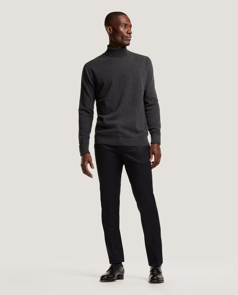 ARVID Rollneck sweater | 100% Cashmere | Dark Grey Melange by Salle Privée