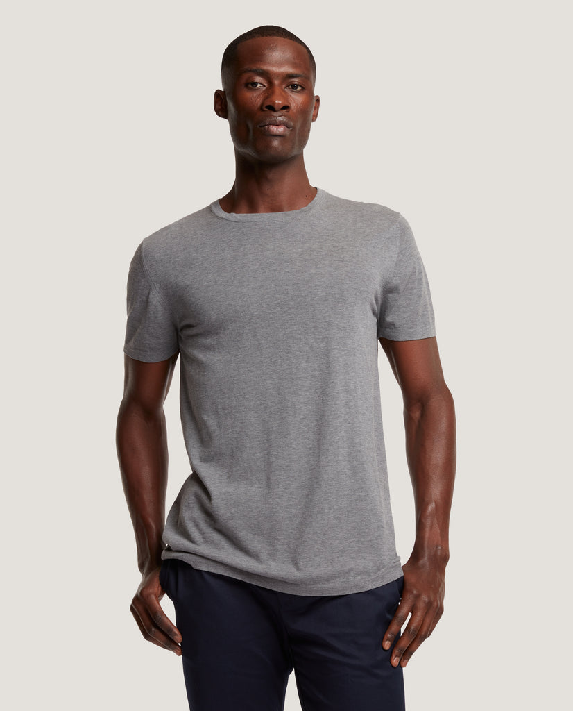 SIMON Cotton knit crewneck short sleeve T-shirt | Mid Grey by Salle Privée