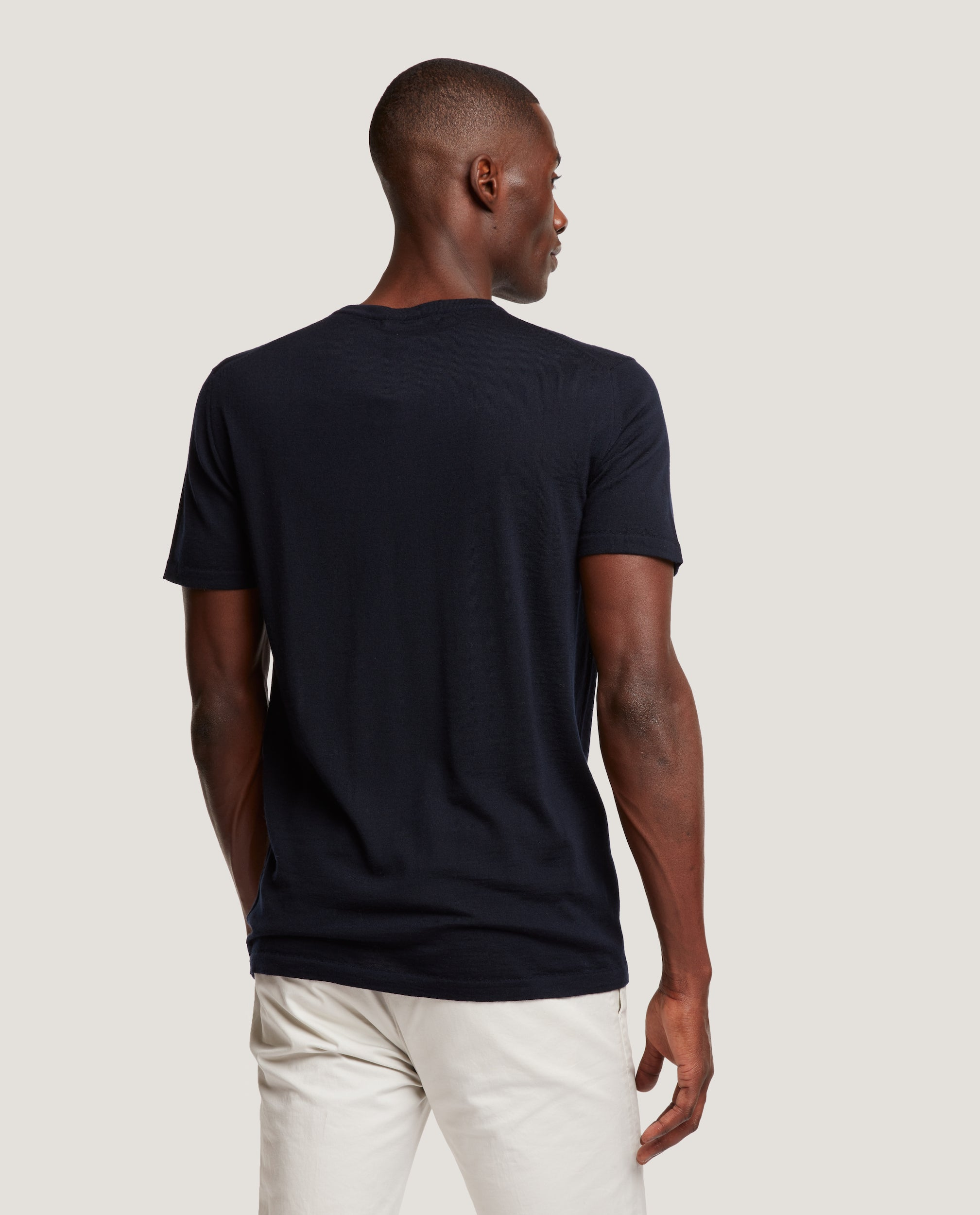 SIMON Cashmere blend knit crewneck short sleeve | Night blue