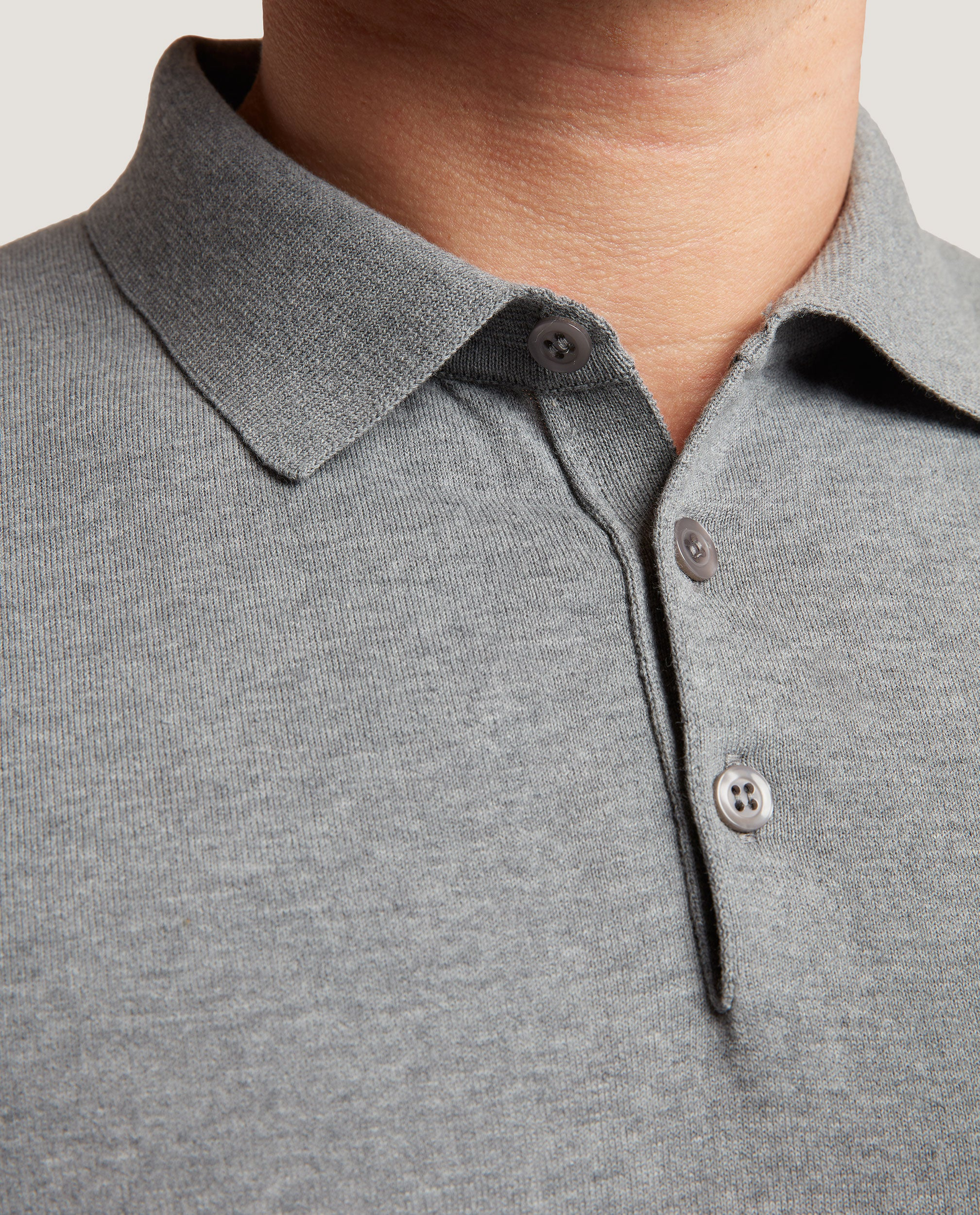 ELIEL Cotton knit polo | Mid Grey