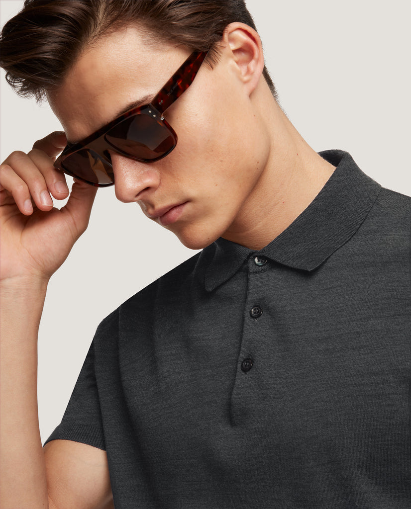 ELIEL Cotton knit polo | Dark Grey by Salle Privée